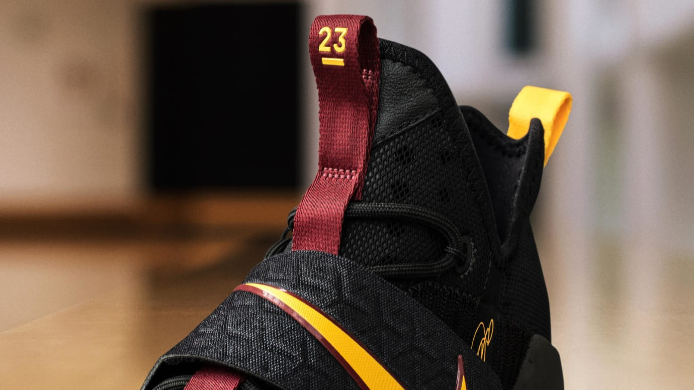 Nike LeBron 14 Black Yellow Wine PE Tongue