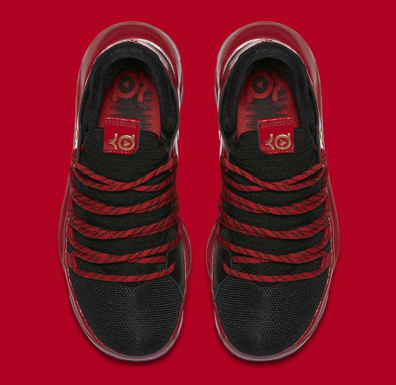 0893b98f4cd39 Nike KD 10 LE GS Black Metallic Gold University Red Bright Crimson Release  Date AJ7220-