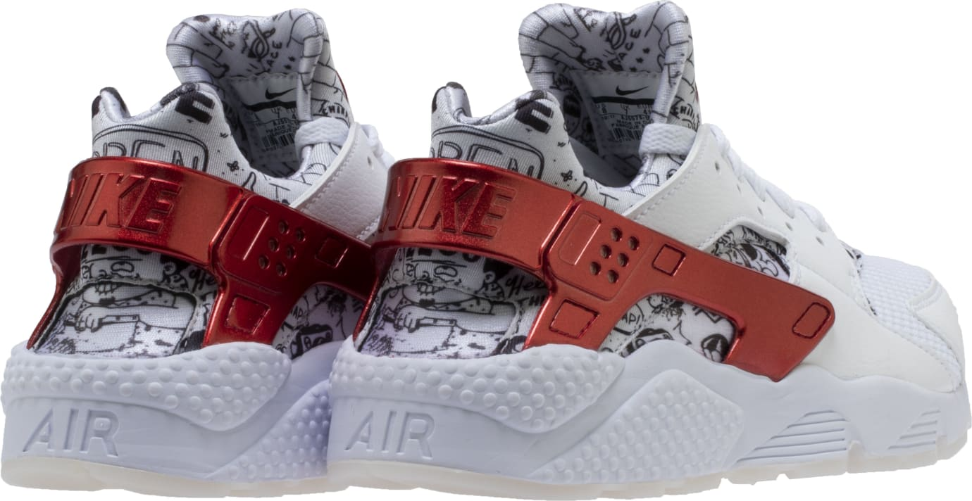 Shoe Palace x Nike Air Huarache White/Red/Platinum 'Joonbug' AJ5578-101 (Heel)