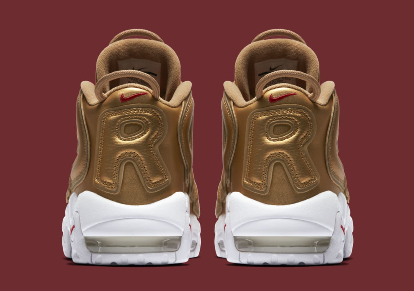 Gold Supreme Nike Air More Uptempo 902290-700 Heel