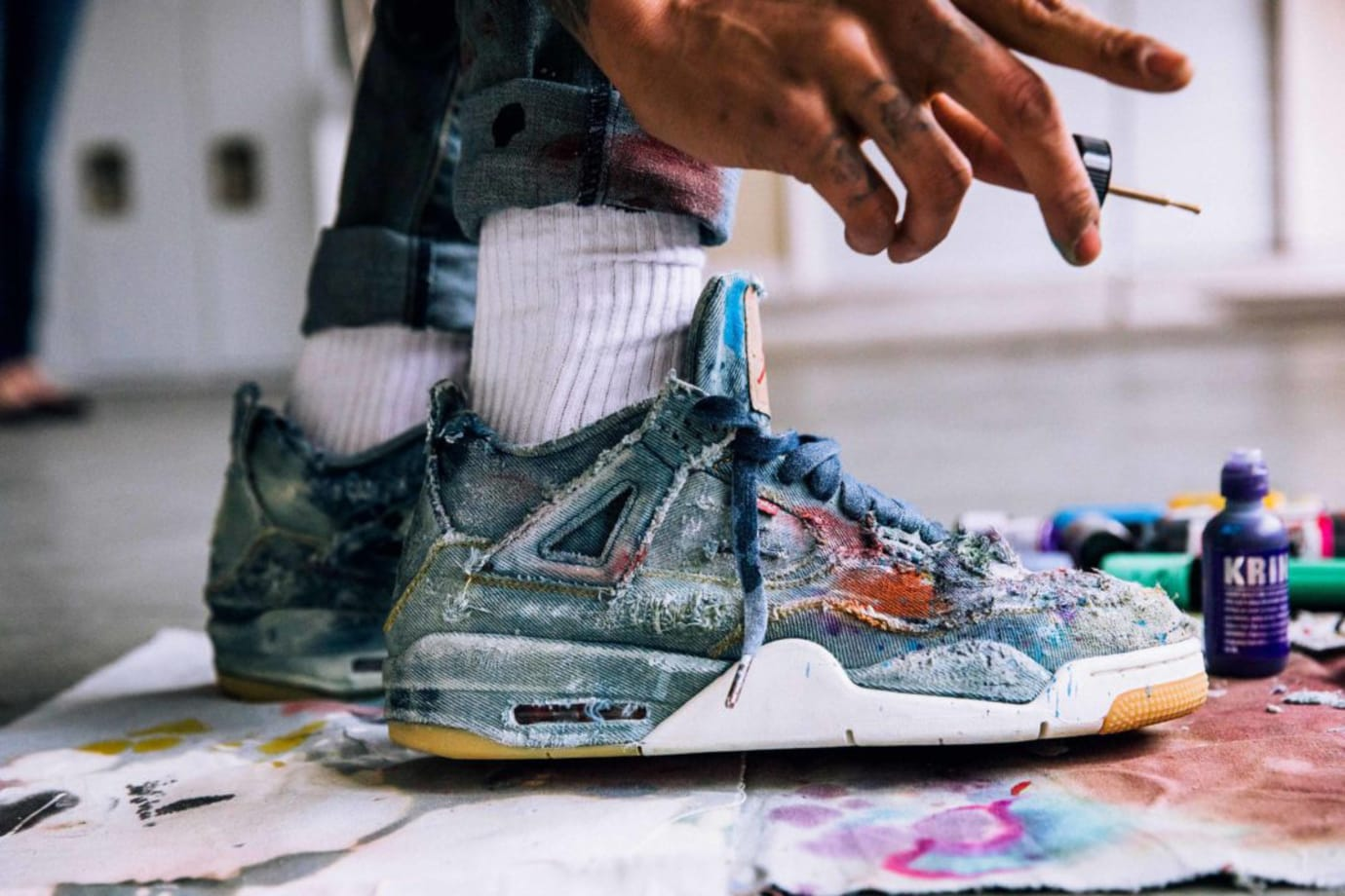Distressed Levis Air Jordan 4
