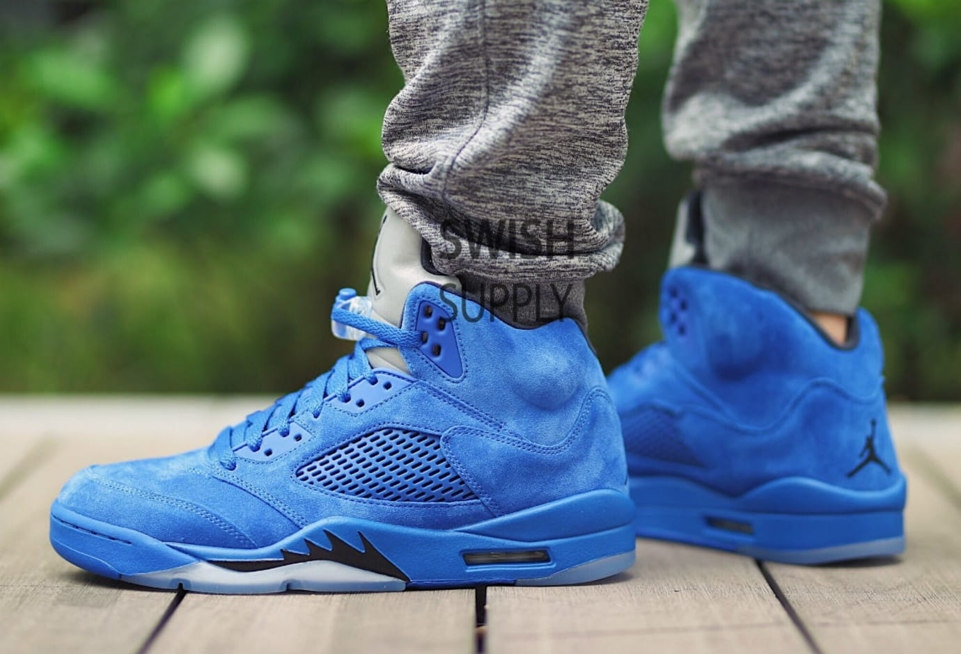 730cb99ec68282 Air Jordan 5 Blue Suede Release Date On-Foot 136021-401 (3)
