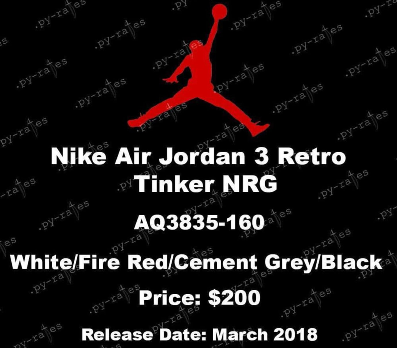 a34f21df5be02d Air Jordan 3 Retro  Tinker NRG  White Fire Red Cement Grey