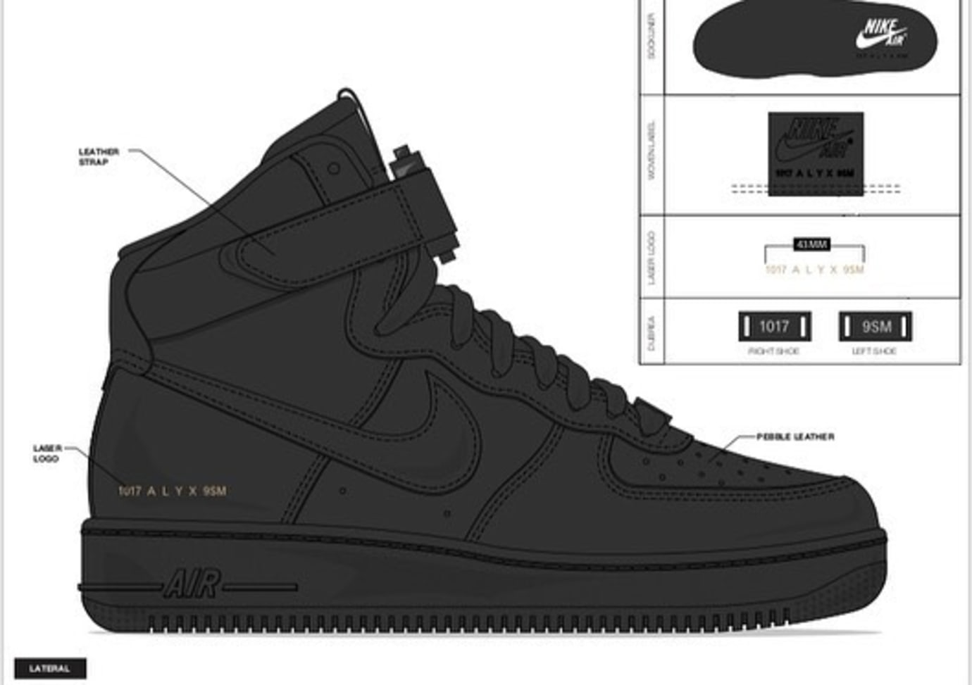 Alyx x Nike Air Force 1 'Triple Black'