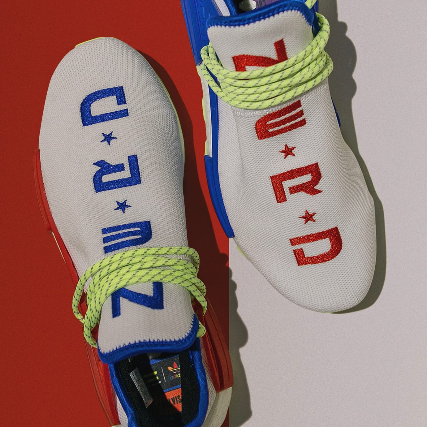 Pharrell x Adidas NMD Hu NERD White Red Blue Release Date Top