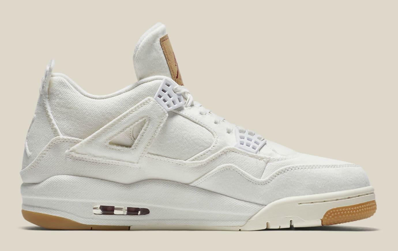 2ca58e1c4d84 Image via Nike Levi s x Air Jordan 4 White Demin Release Date AO2571-100  Medial