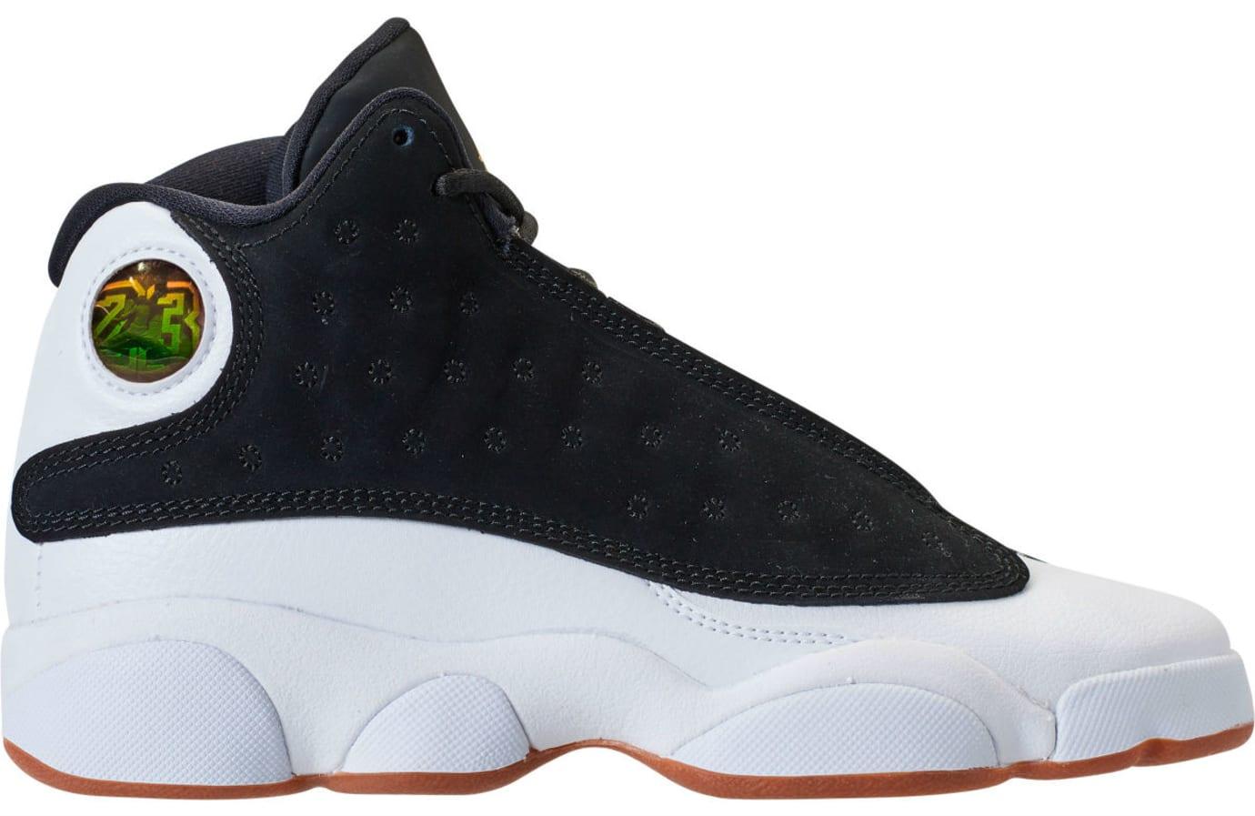 Air Jordan 13 Girls Black Gold White Gum Release Date 439358-021 Profile