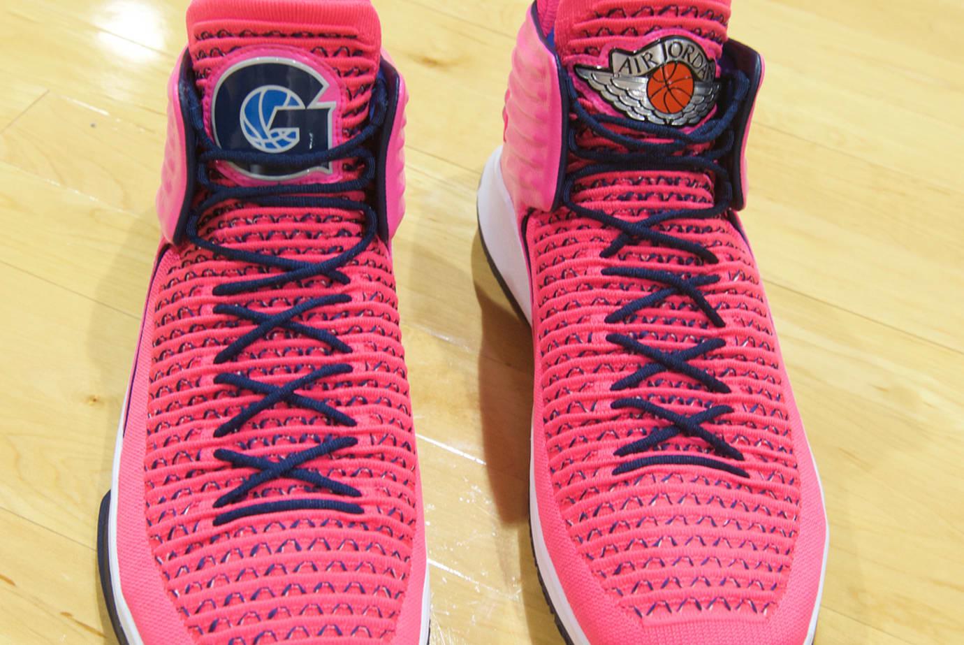 Air Jordan 32 Pink Georgetown Men Against Breast Cancer PE Front ... a6eb07363