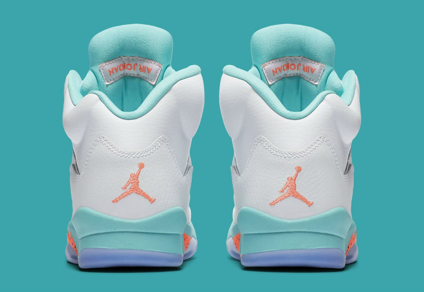 newest collection c3d1a 7ac70 Image via Nike Air Jordan 5 V GS White Crimson Pulse Light Aqua Release  Date 440892-100 Heel