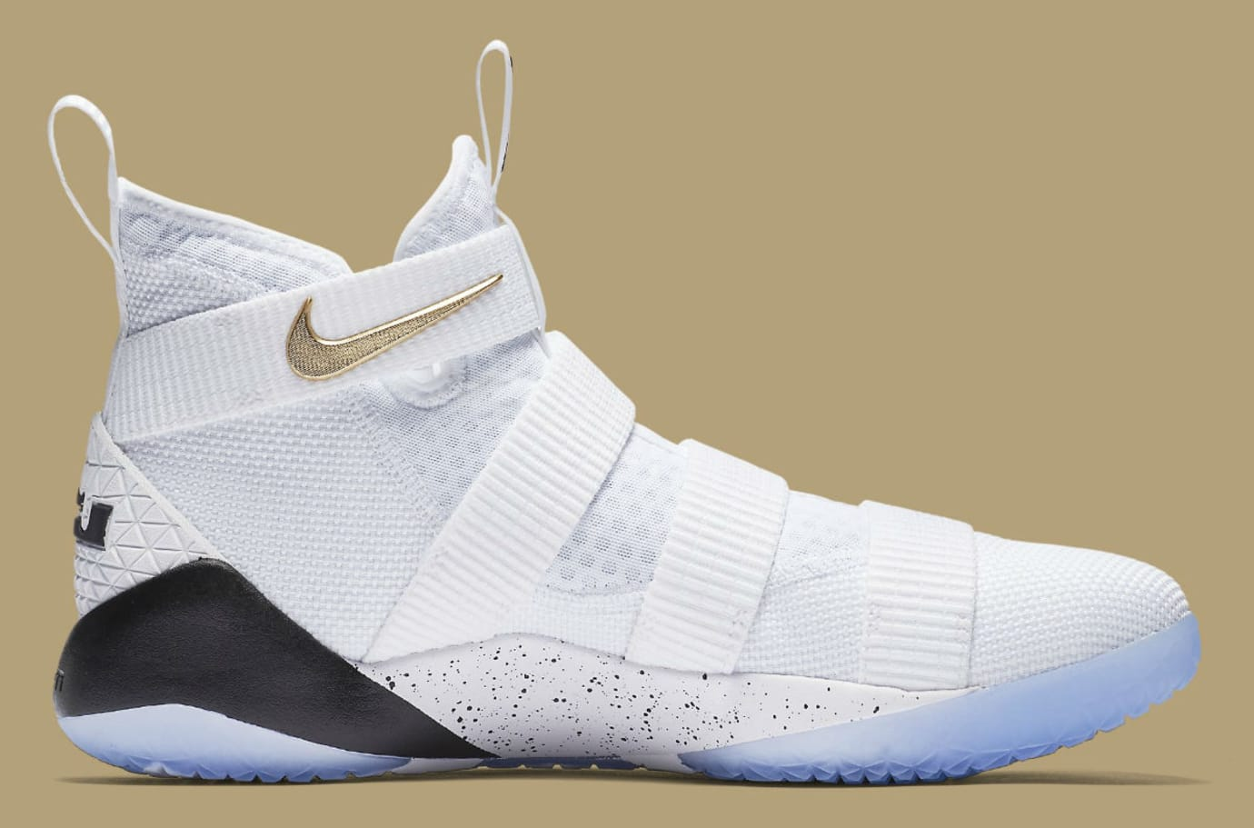 low priced 5e601 6a607 Nike LeBron Soldier 11 White Gold Black Release Date Medial 897644-101