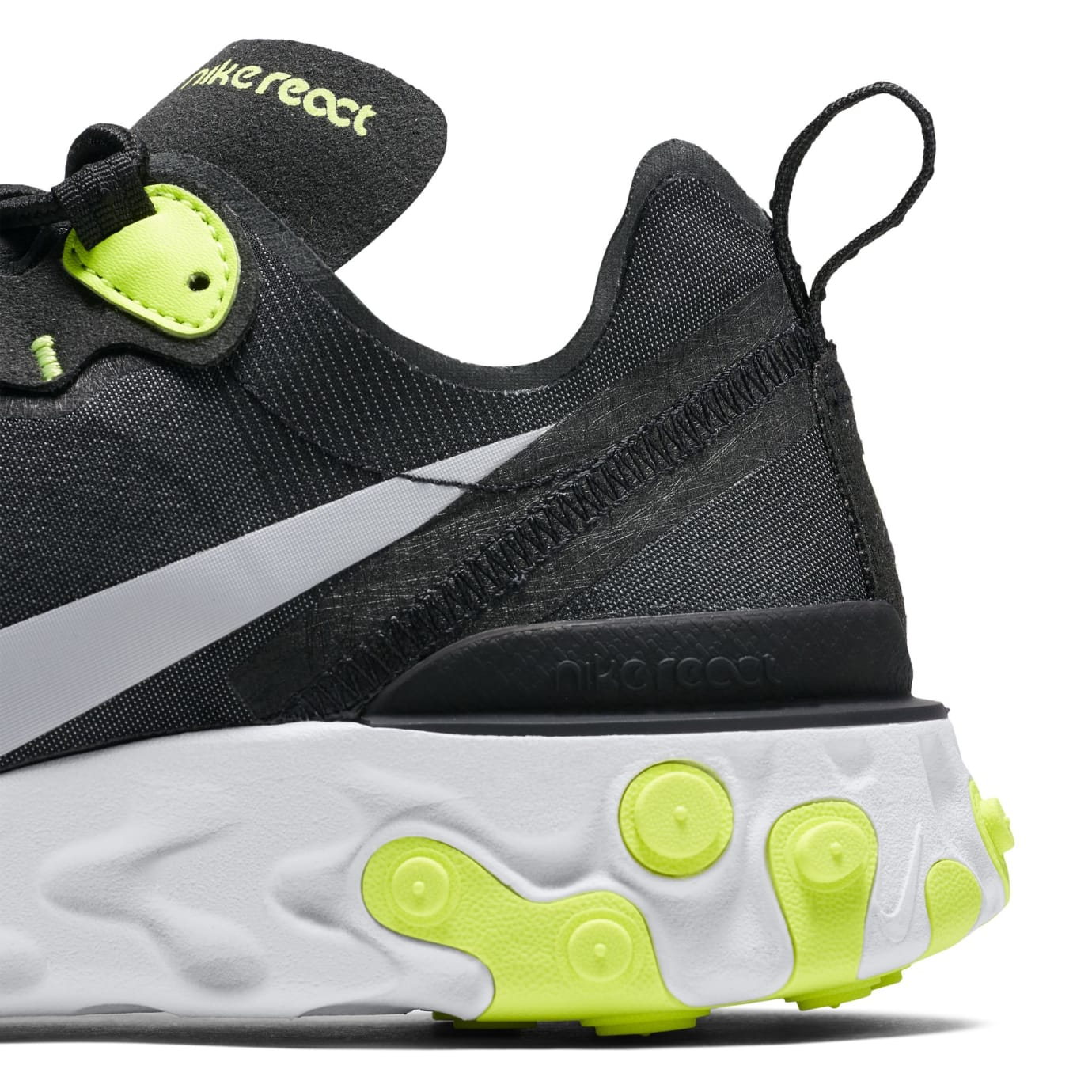 Nike React Element 55 'Black/Cool Grey/White/Volt' (Detail)