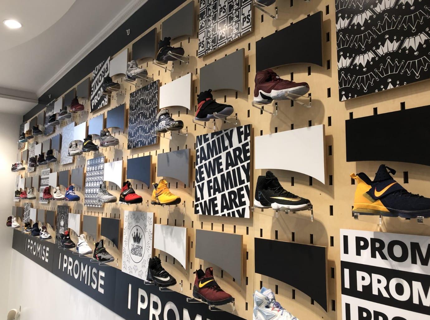 LeBron James game-worn sneaker wall I Promise school 2