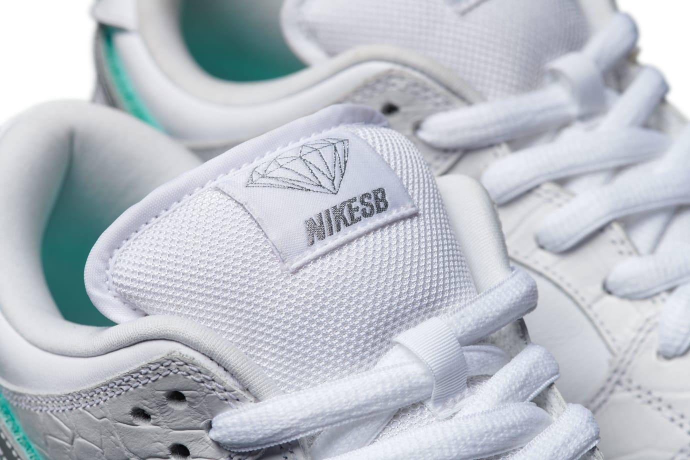 Diamond Supply Co. x Nike SB Dunk Low 'White' (Tongue)