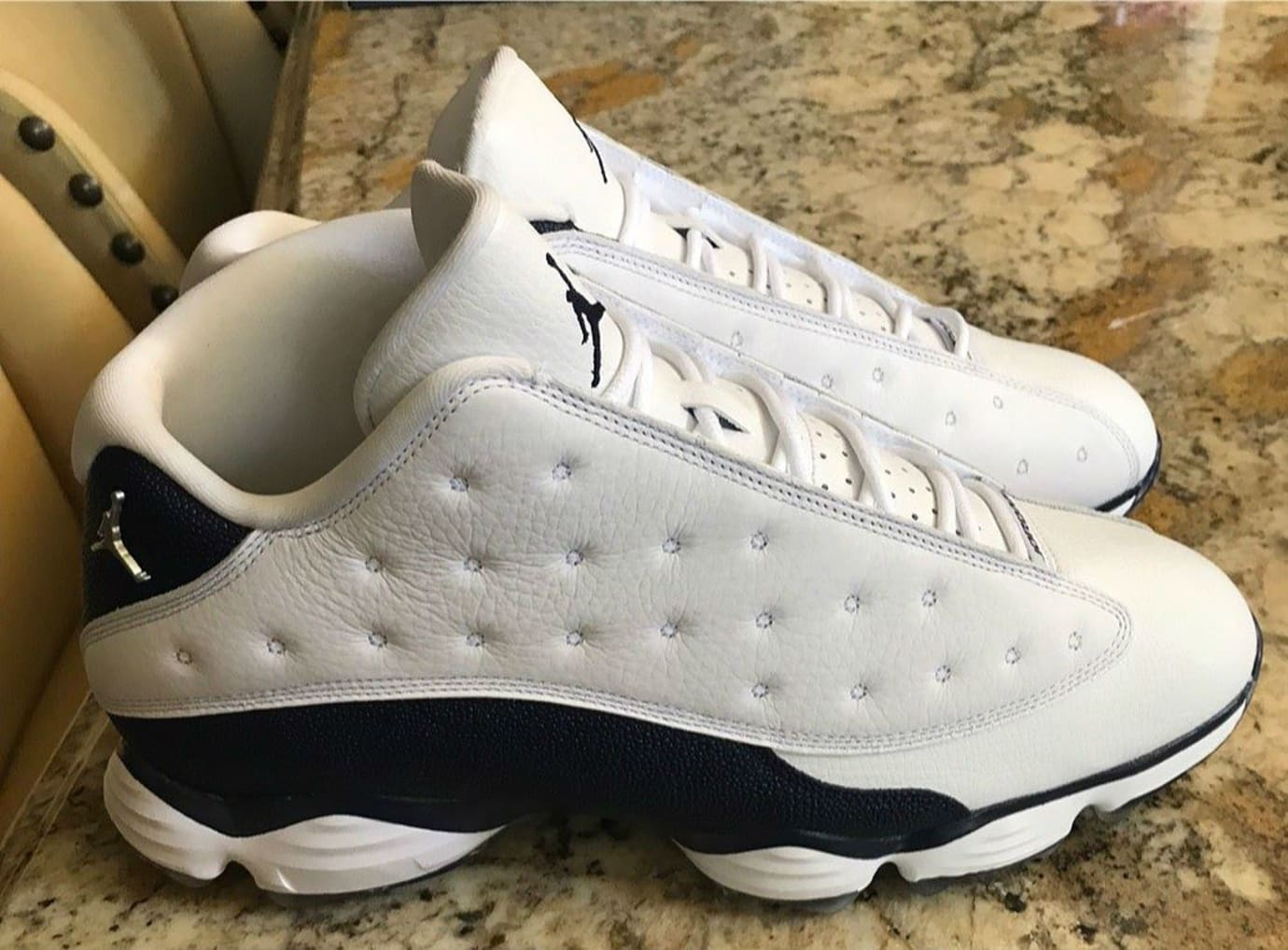 Air Jordan 13 Low Golf Shoes White Blue Profile