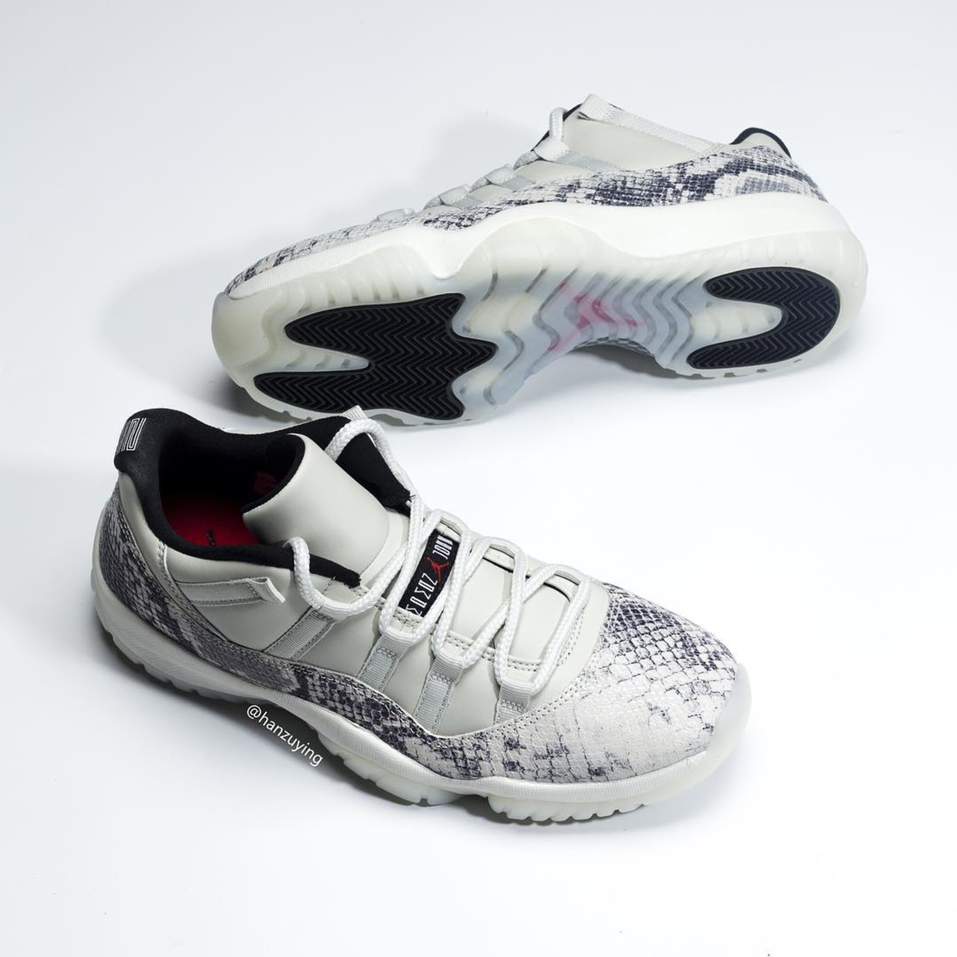 d25cd89e5ed Image via hanzuying · Air Jordan 11 Low SE Snakeskin 'Light Bone/University  Red-Sail-Black