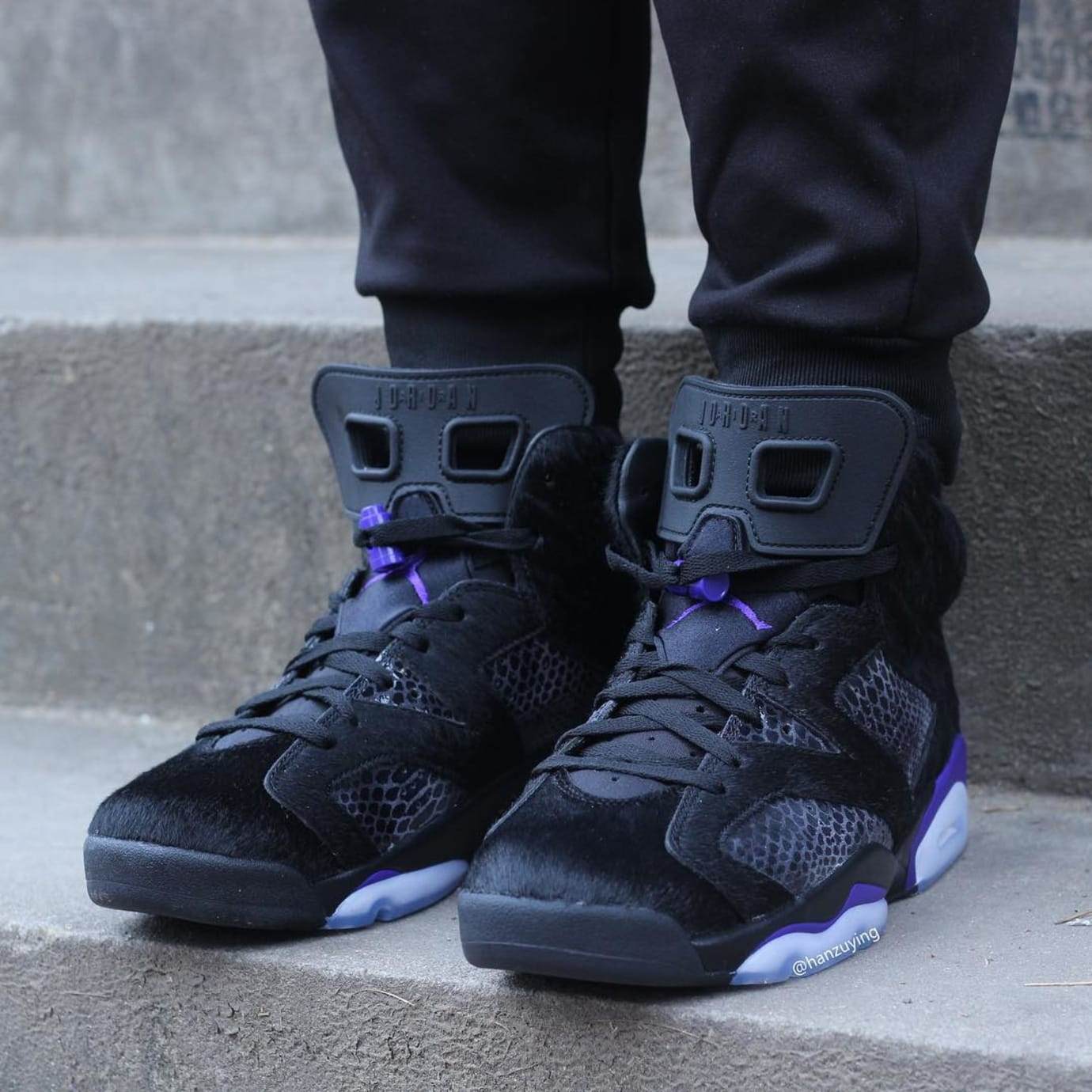 c04944c21f8 Image via hanzuying · Air Jordan 6 VI Cow Fur Snakeskin Black Purple  Release Date AR2257-005 On-
