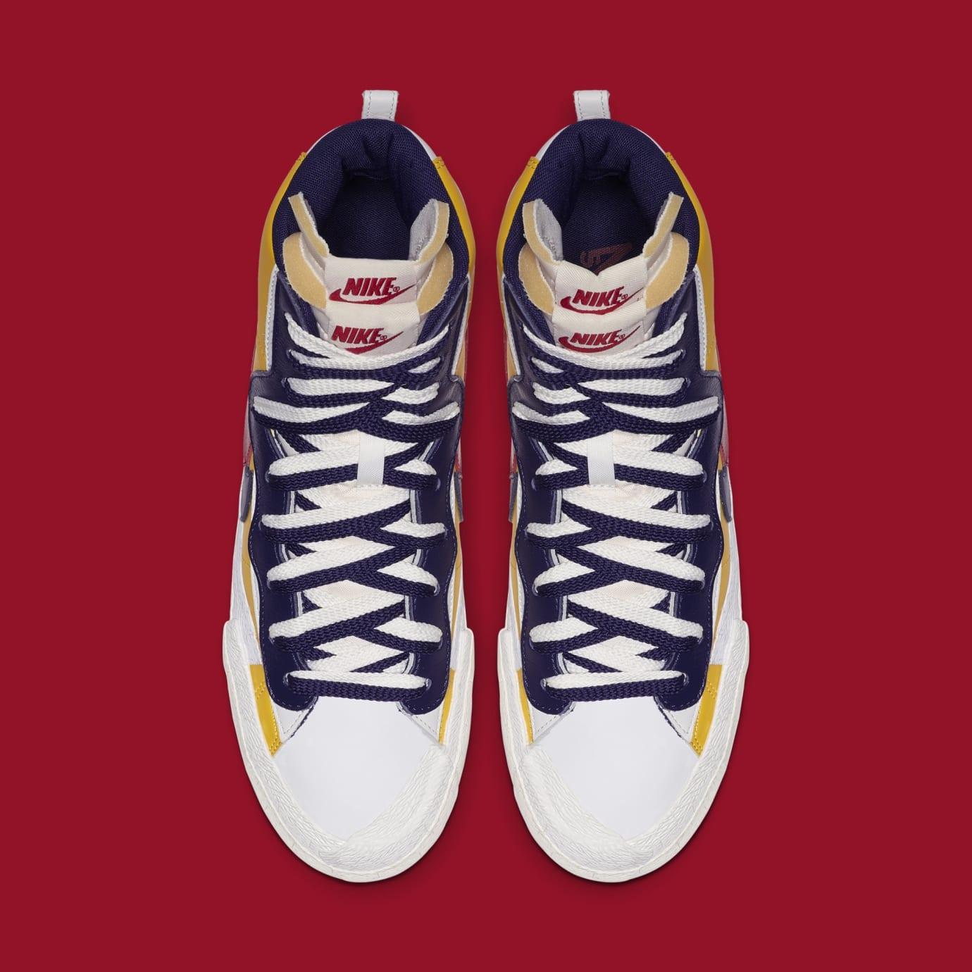 Sacai x Nike Blazer High 'Varsity Maize/Varsity Red/Midnight Navy' BV0072-700 (Top)