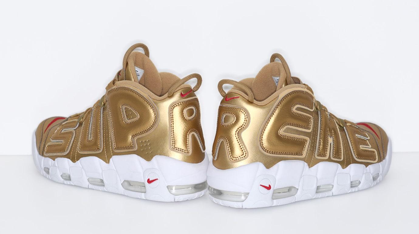 Gold Supreme Nike Air More Uptempo Heel