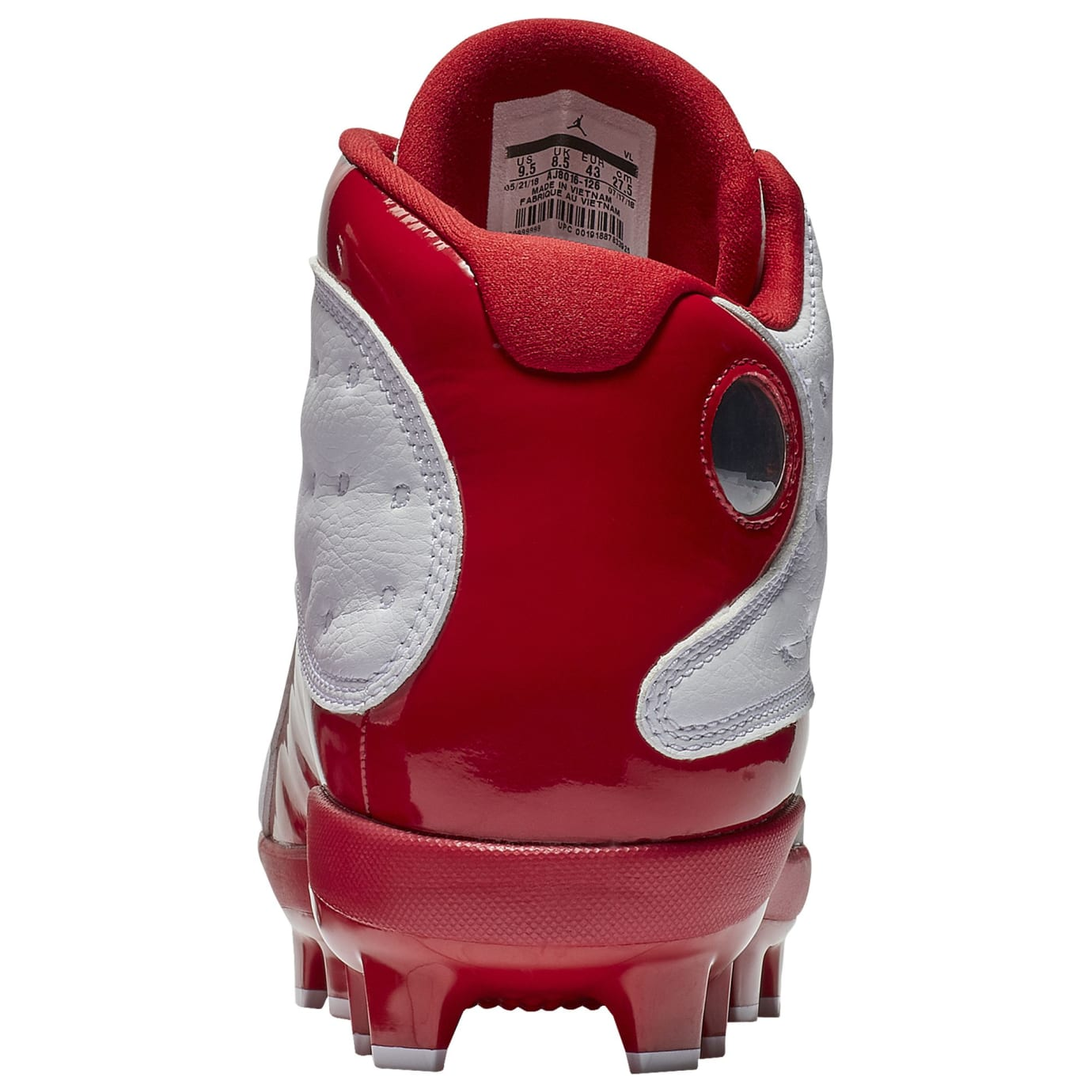 dd226fe6f5a7 Image via Champs Sports air-jordan-13-cleat-white-red-grey-heel