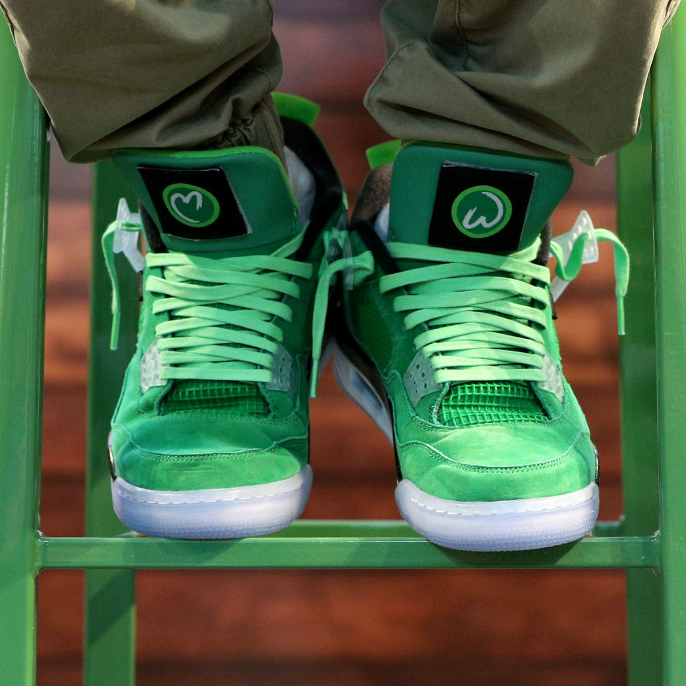 Mark Wahlberg Wahlburgers Air Jordan 4 Green On-Foot