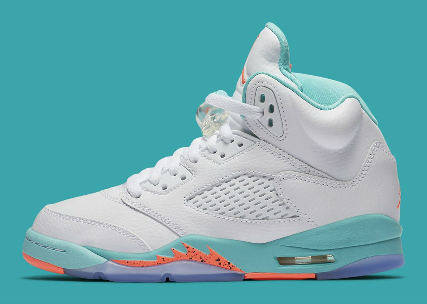 new arrival f3e6f 1ec35 Air Jordan 5 V GS White Crimson Pulse Light Aqua Release Date 440892-100  Profile