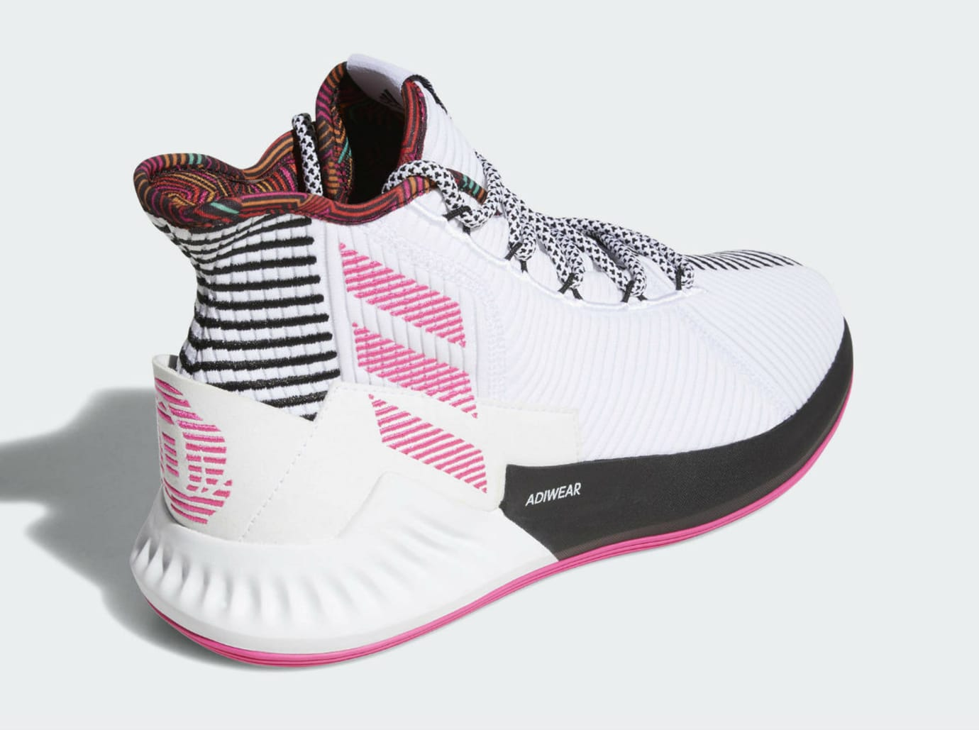 a0f8c94f88f Image via Adidas Adidas D Rose 9 White Black Pink Release Date BB7658 Back