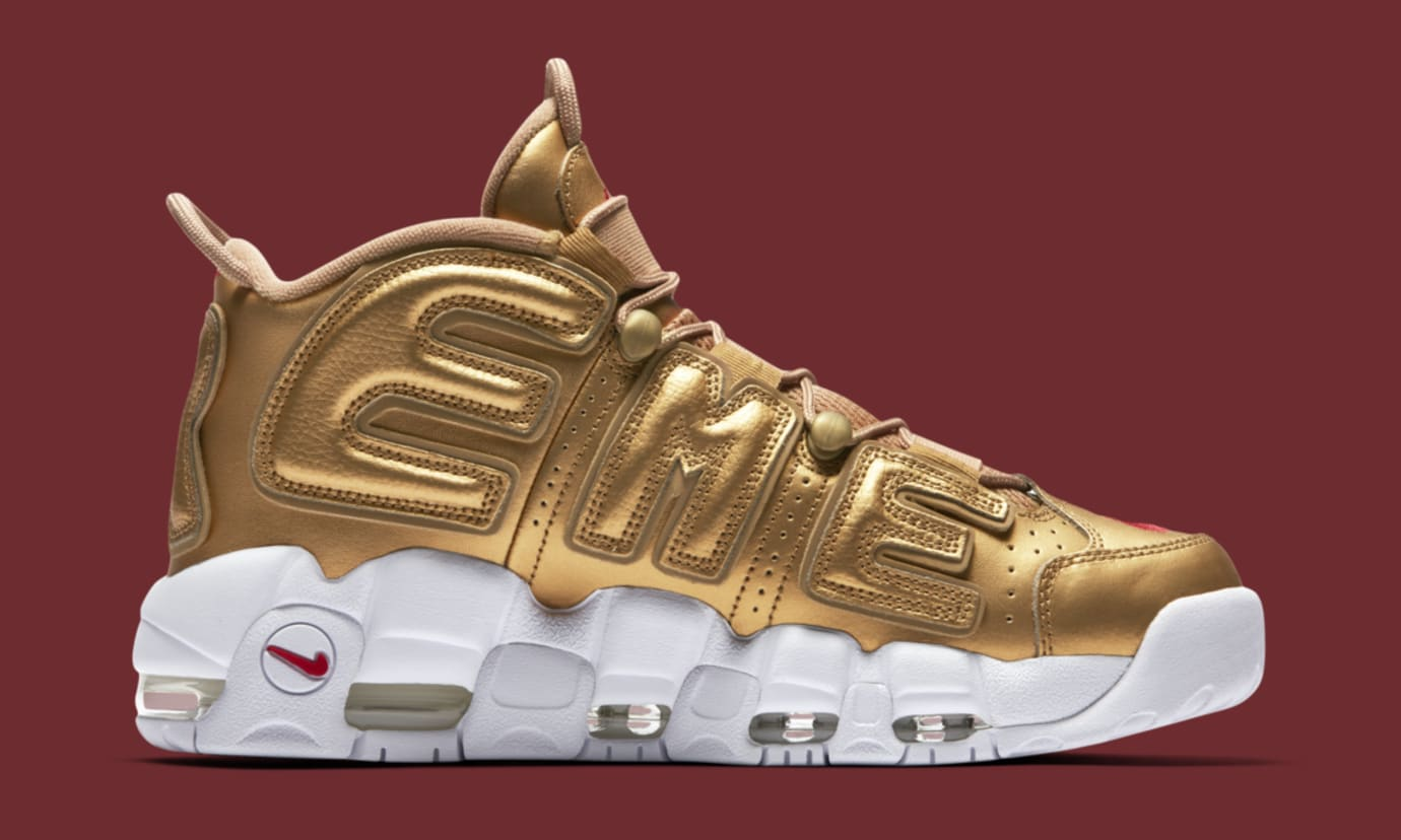 timeless design 36dd1 b5a1d Image via Nike Gold Supreme Nike Air More Uptempo 902290-700 Medial