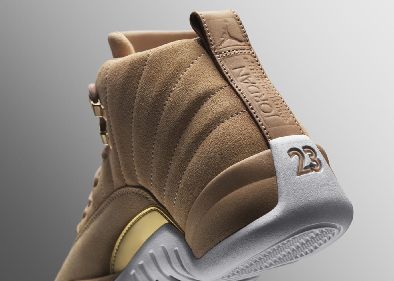 525a3d4eaca552 Image via Nike News · Vachetta Tan Air Jordan 12 Heel