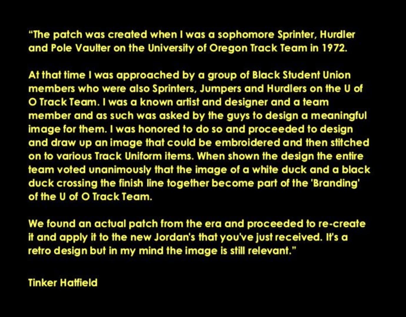 Tinker Hatfield Oregon Track & Field Patch