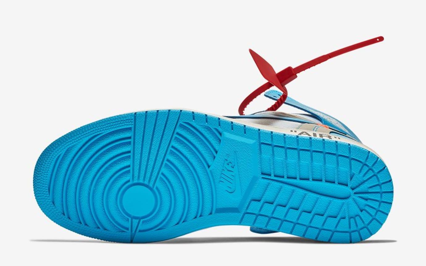 9a33f1dc8b8 Image via Nike Off-White x Air Jordan 1 UNC Release Date AQ0818-148 Sole