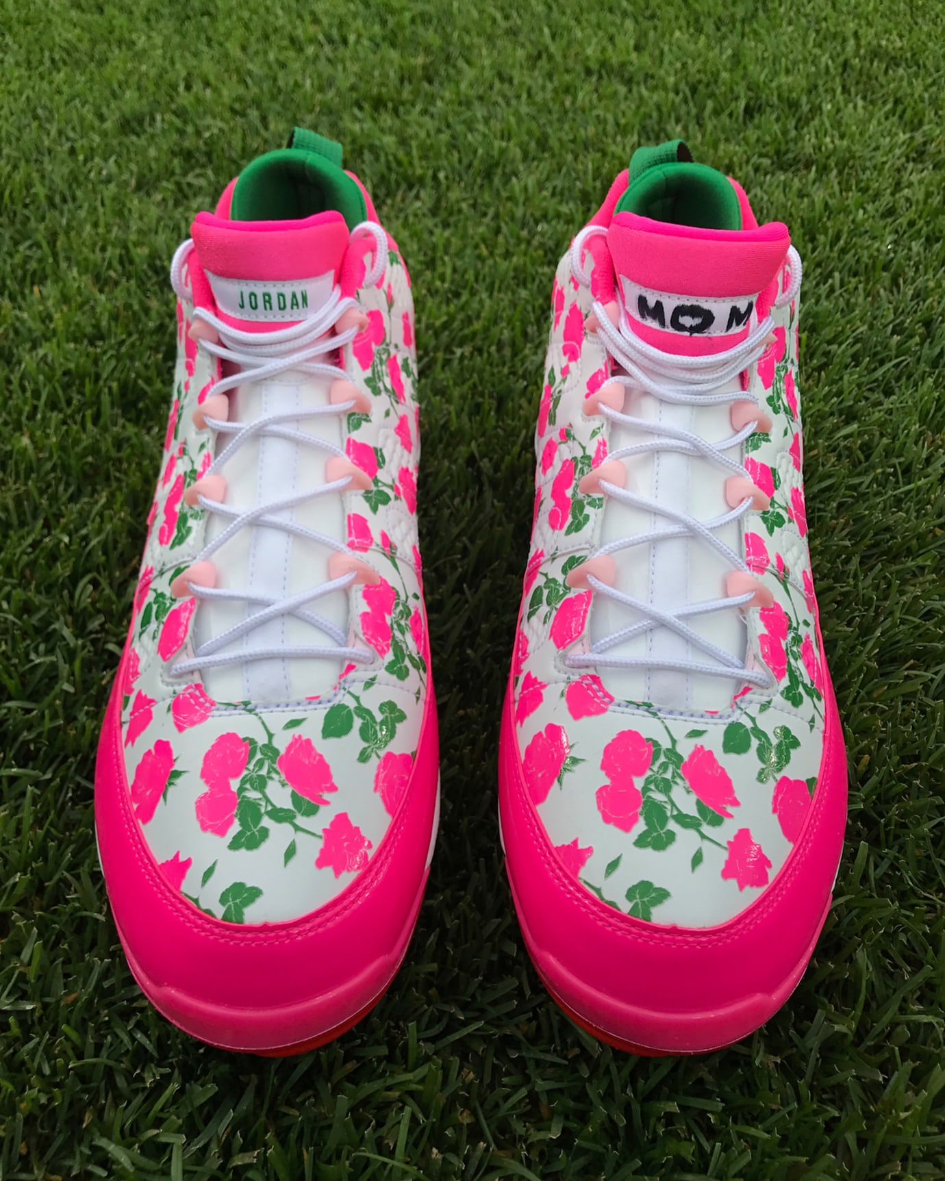 2676b66b3 Image via Dellin Betances · Air Jordan 9 Low Mother s Day Manny Machado PE  Front