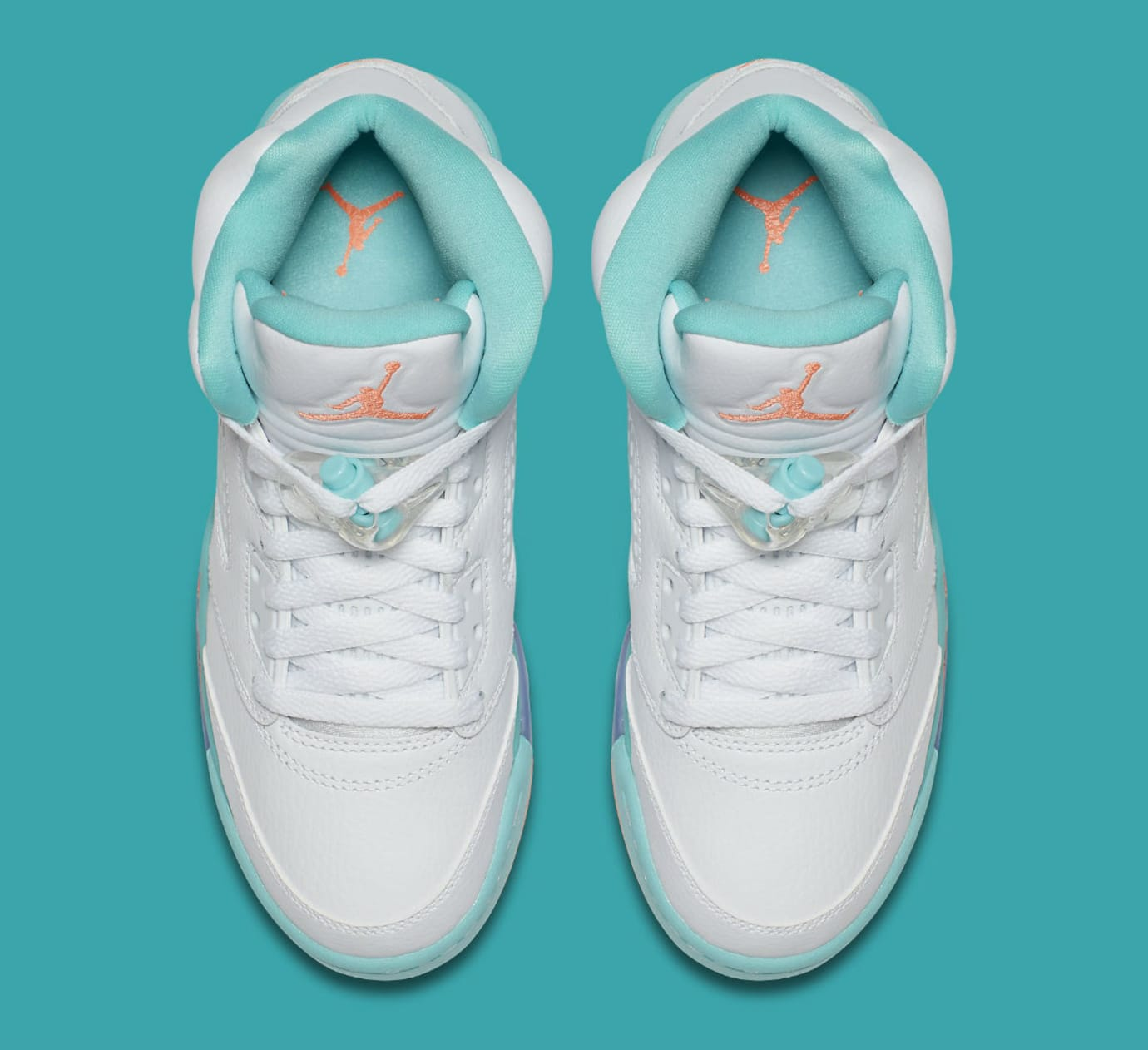 quality design 12d17 8c83d Image via Nike Air Jordan 5 V GS White Crimson Pulse Light Aqua Release  Date 440892-100 Top