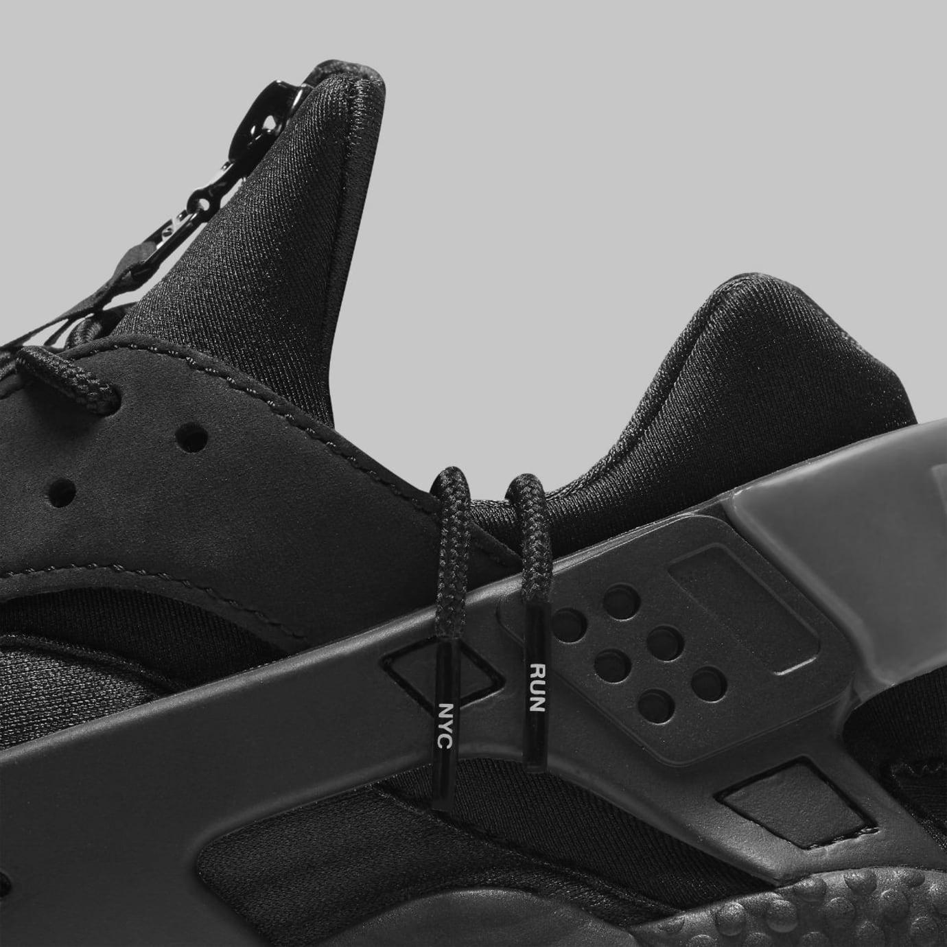 Nike Air Huarache Run NYC Triple Black Release Date AJ5578-001 Laces