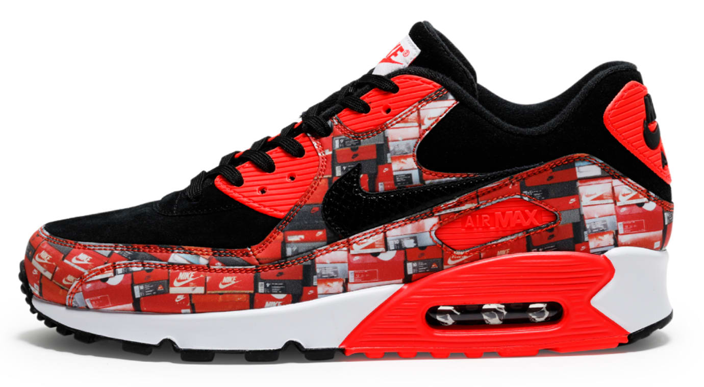 47f7b0fb Image via Shoesmaster · Atmos x Nike Air Max 90 'We Love Nike' Infrared