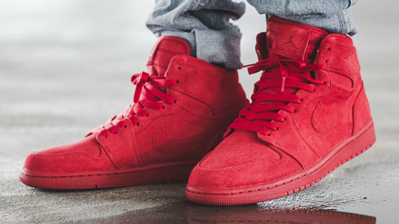 Air Jordan 1 Red Suede On-Foot 332550-603 (1) 066d2792e