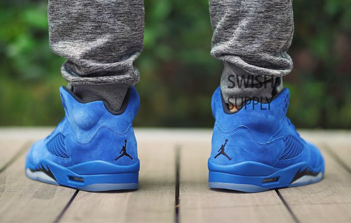 ae96d43187f645 Air Jordan 5 Blue Suede Release Date On-Foot 136021-401 (4)