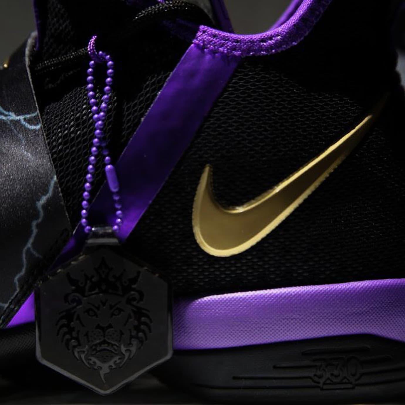 Nike LeBron 14 Black Purple Gold Release Date Medial AA3258-590