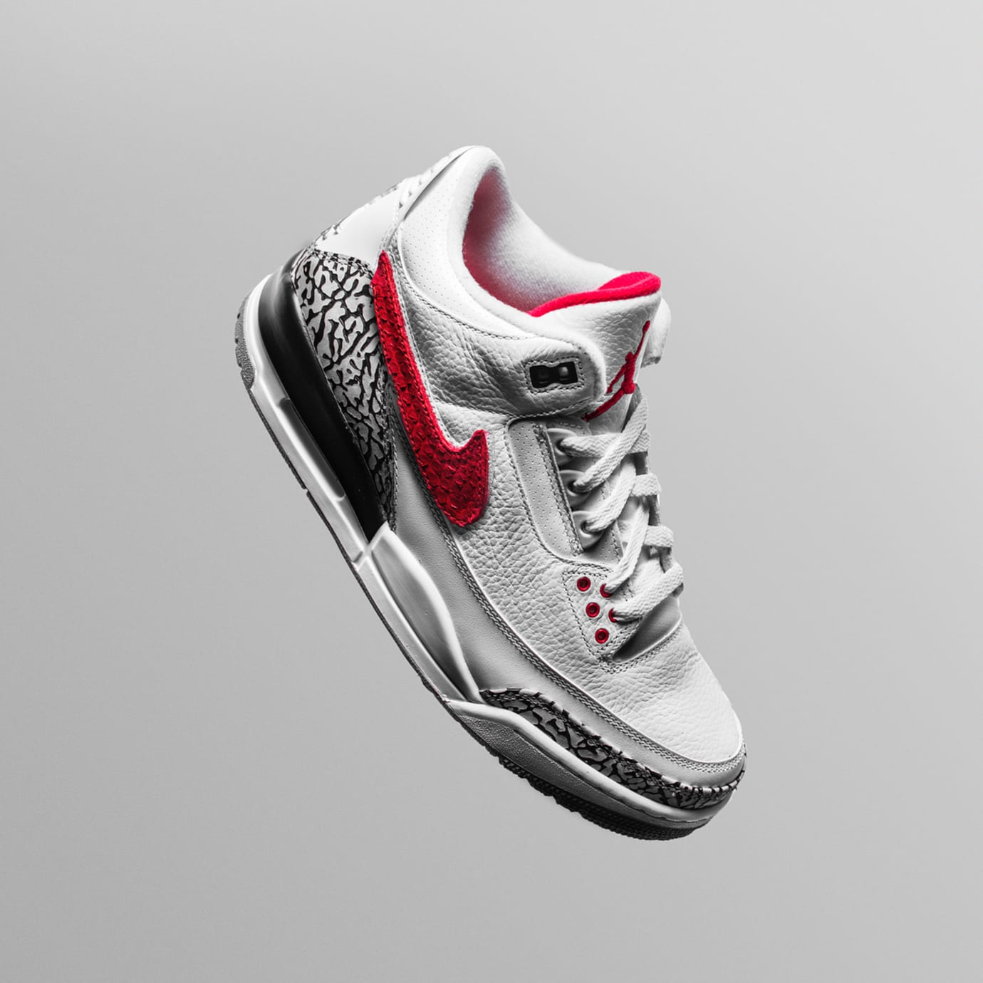 The Shoe Surgeon x Cement Air Jordan 3 Interchangeable Swoosh Custom Red Python