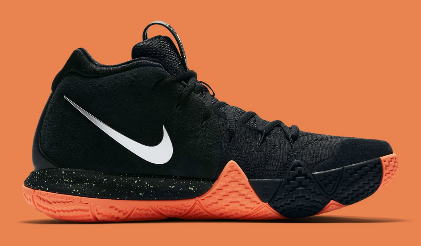 wholesale dealer 22f11 318cb Nike Kyrie 4 Black Silver-Orange Release Date 943806-010 Medial