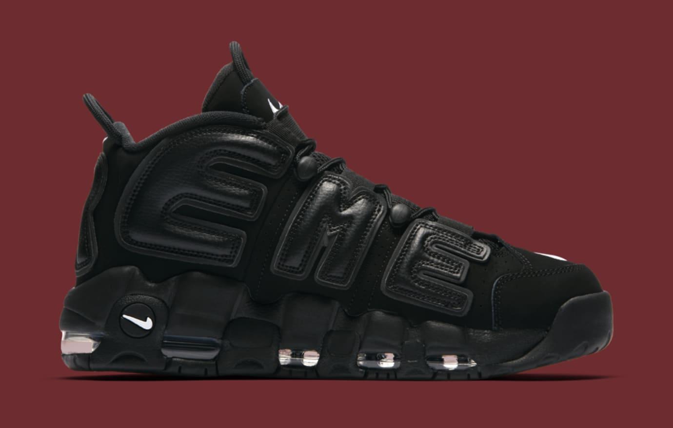 Black Supreme Nike Air More Uptempo 902290-001 Medial