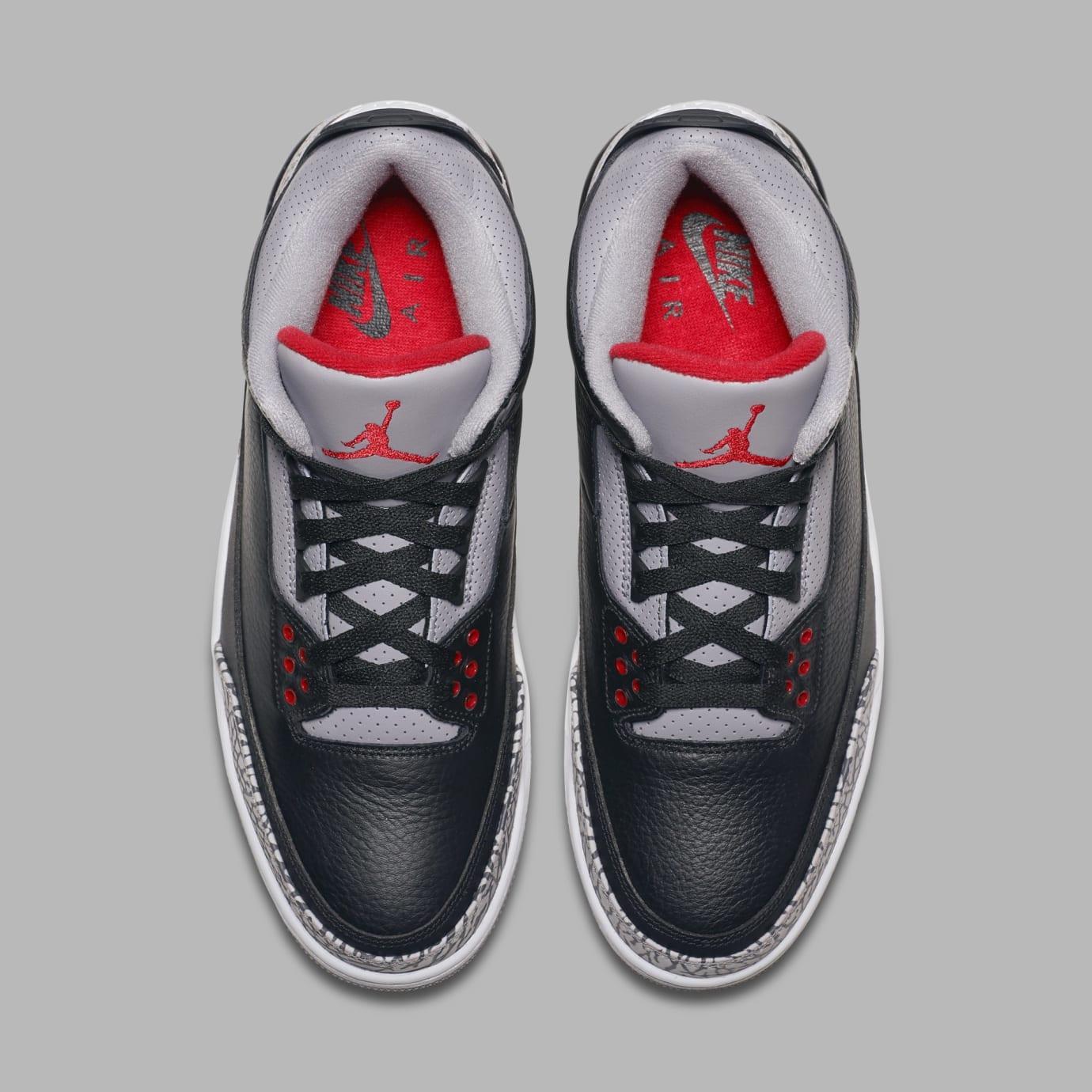 Air Jordan 3 Black/Cement Grey-White-Fire Red 854262-001 (Top)