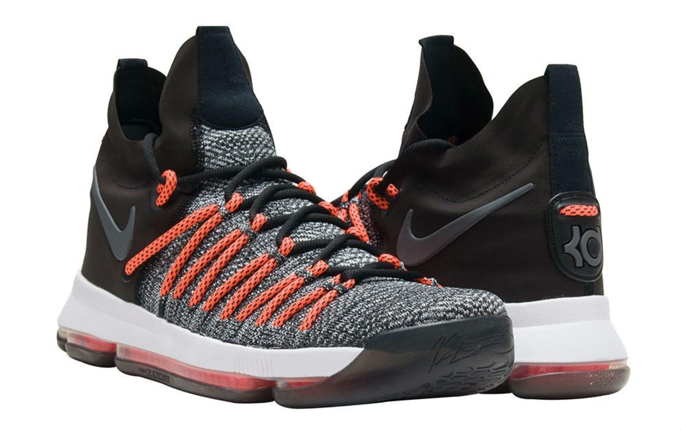 Nike KD 9 Elite Black White Dark Grey Hyper Orange Release Date Front 878637-010