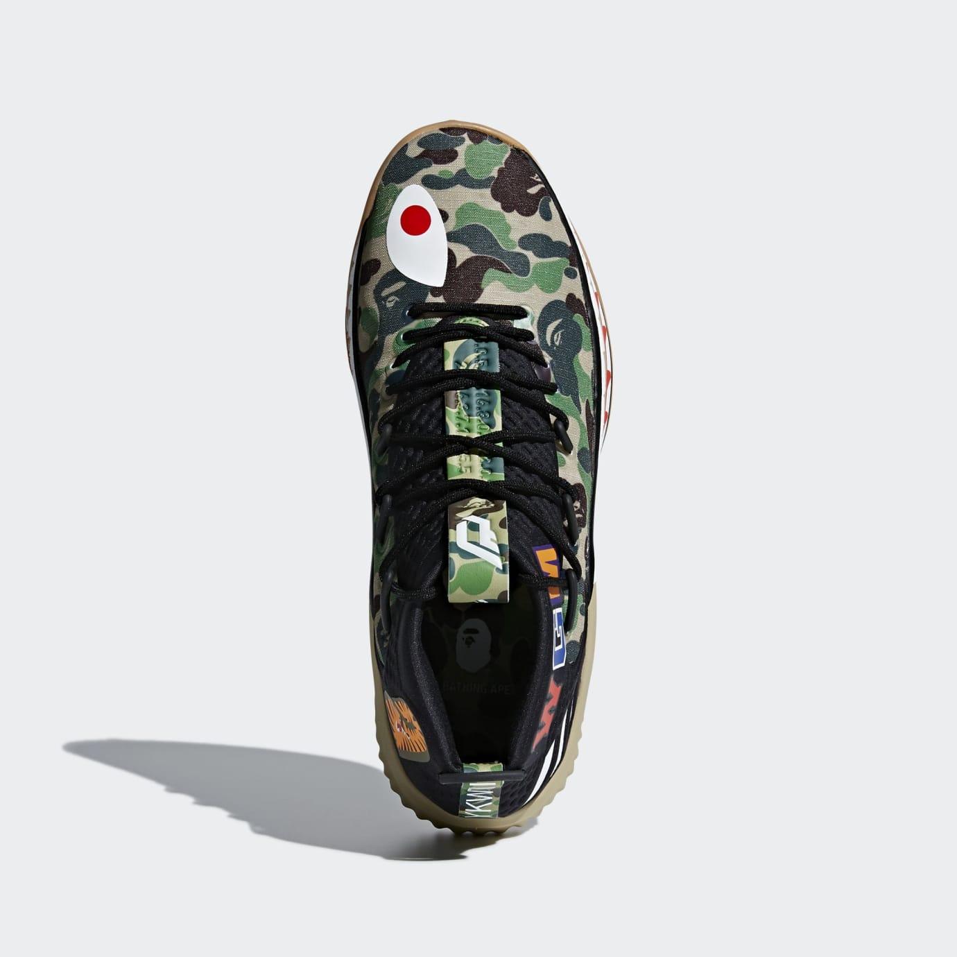 huge discount 53bec 8de90 Image via Adidas BAPE x Adidas Dame 4  Green Camo  AP9974 (Top)