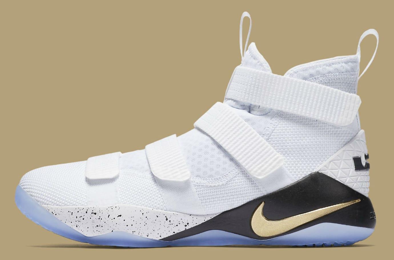 Nike LeBron Soldier 11 White Gold Black Release Date Profile 897644-101