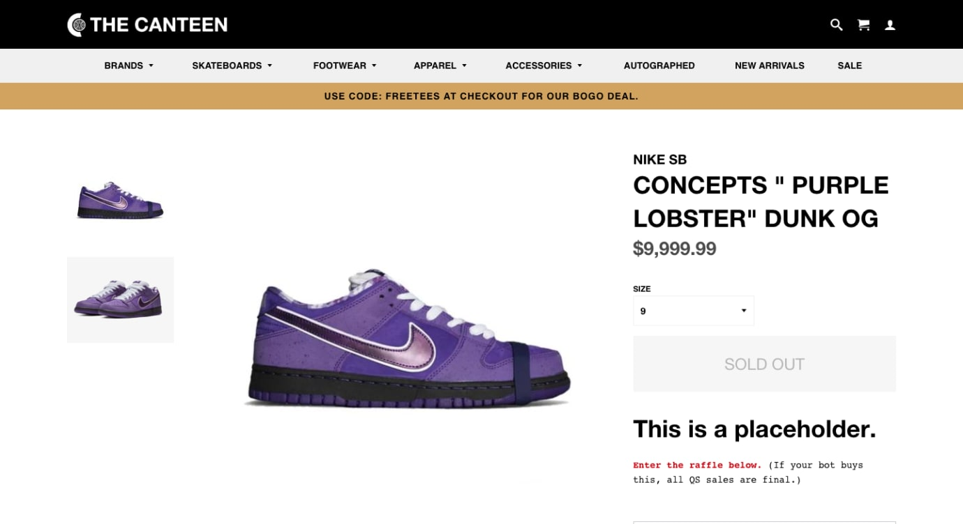 Concepts x Nike SB Dunk Low 'Purple Lobster' Canteen