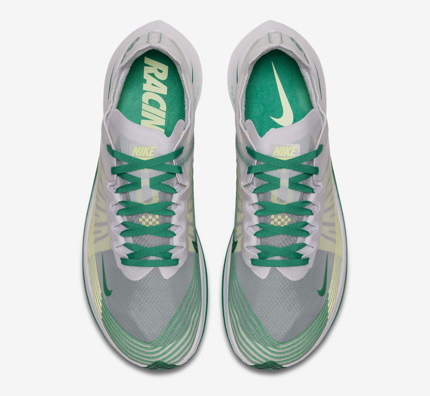Image via Nike Nike Zoom Fly SP White Lucid Green AJ9282-101 Top 1608f6f9ca4e