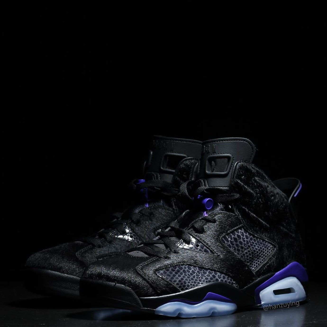 009f22fc50d Image via hanzuying · Air Jordan 6 VI Cow Fur Snakeskin Black Purple  Release Date AR2257-005 Pair