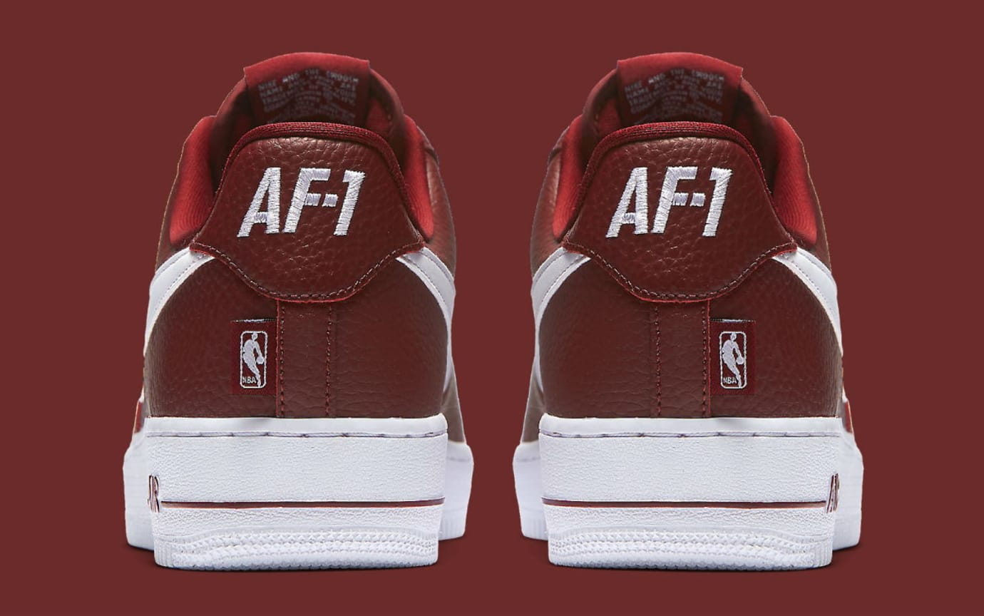 Nike Air Force 1 Low NBA Statement Game Burgundy Release Date Heel 823511-605