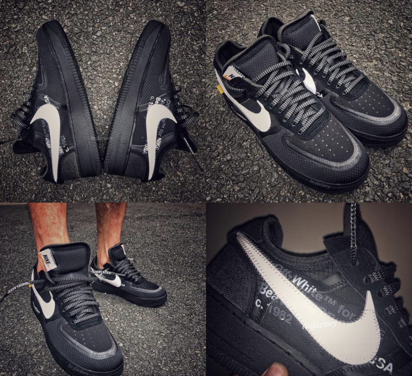 off white x nike air force 1 low 39 black white 39 ao4606 001