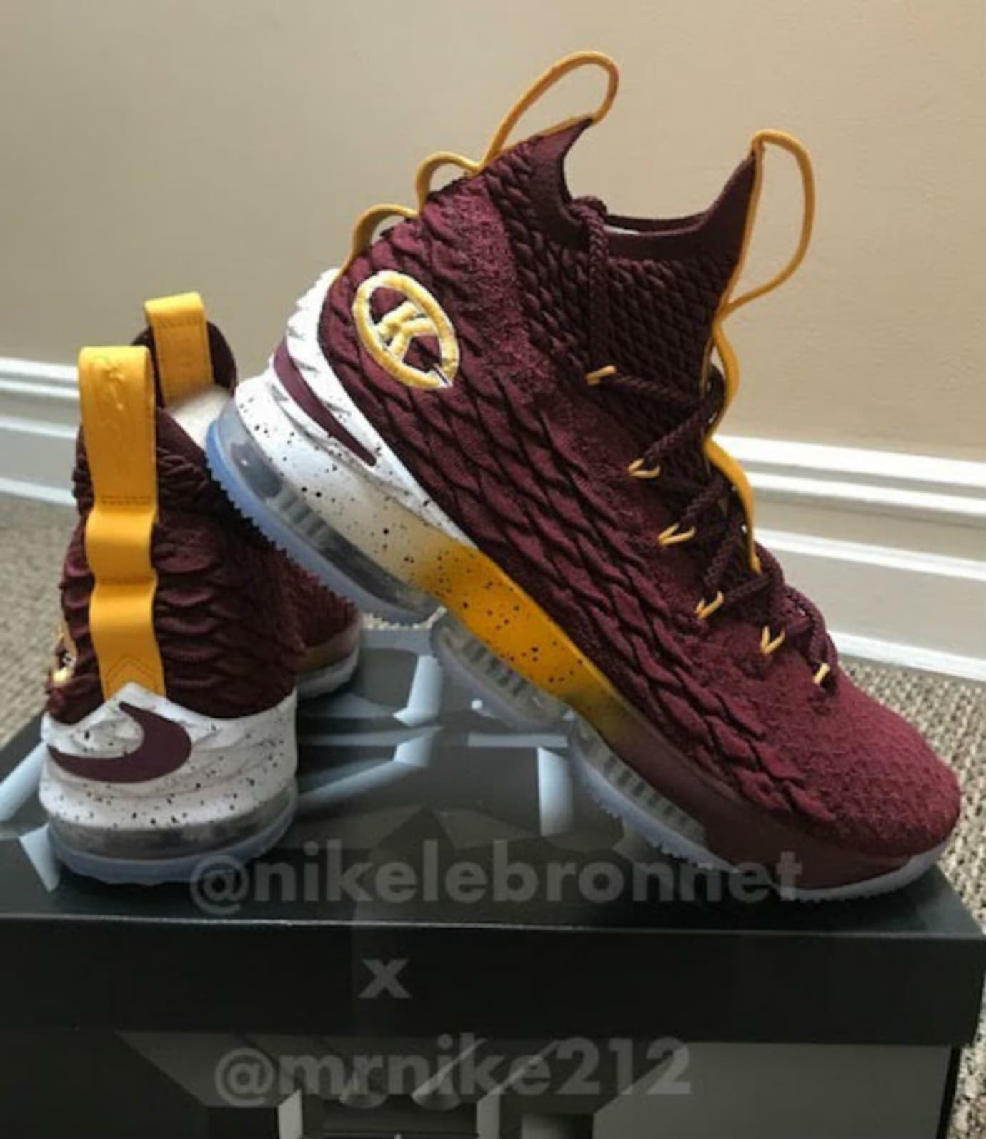 new york 50338 5e71b Nike LeBron 15 Christ the King CTK PE Maroon Lateral